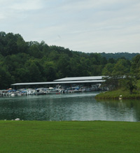 Pontoon Boats and houseboats anchored at the Yatesville Lake Marina on a sunny day in Lawrence County, Kentucky.